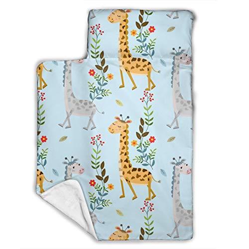 Bargburm Cute Giraffe Flowers Toddler Nap Mat Children's Foldable Premium Kids Soft Sleeping Blanket Pillow Slumber Bag for Boys Girls Preschool Travel 43 X 21 Inch