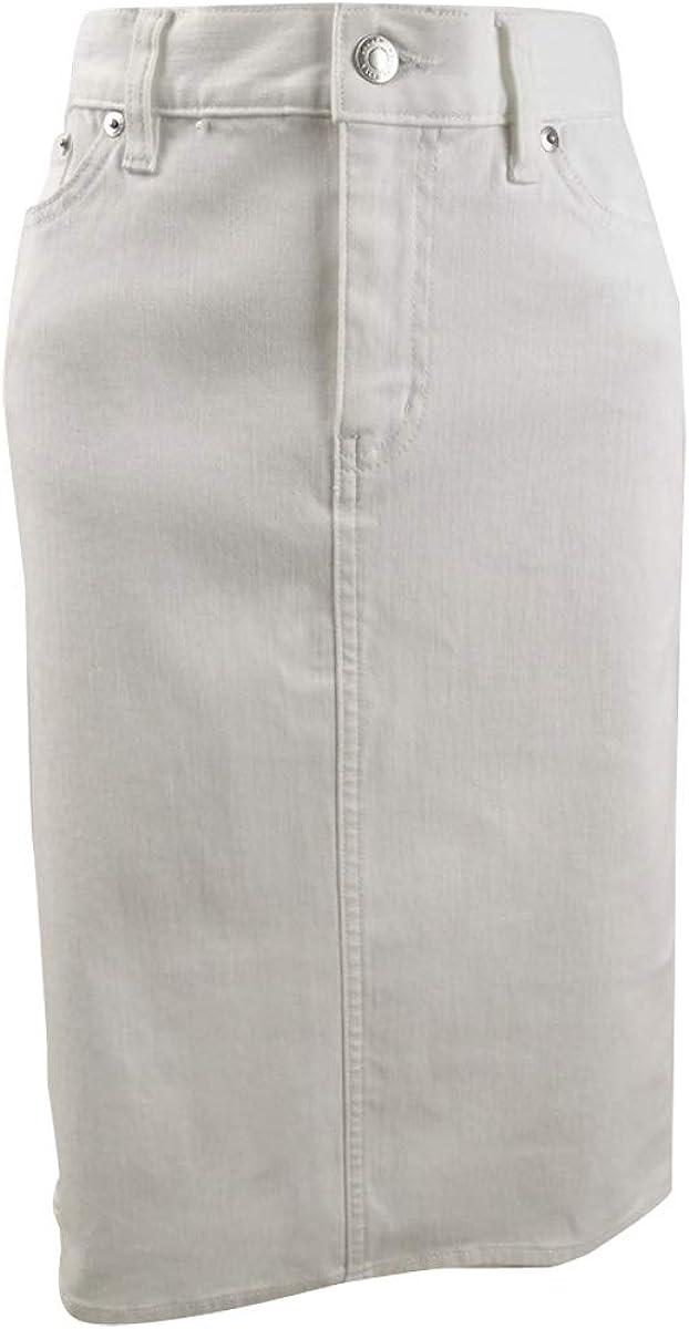 LAUREN RALPH LAUREN Denim Straight Knee-Length Skirt (4, White)