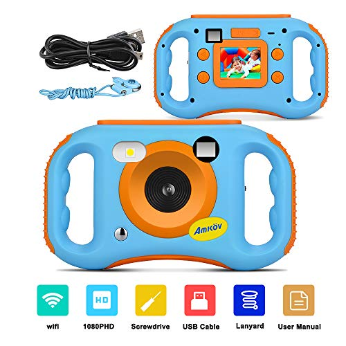 AMKOV WiFi Kids Camera Rechargeable 1080P HD Digital Children Camcorders with 1.77'' LCD Screen, 7-Color Filter Effect, Flash and Mic for Girls/Boys
