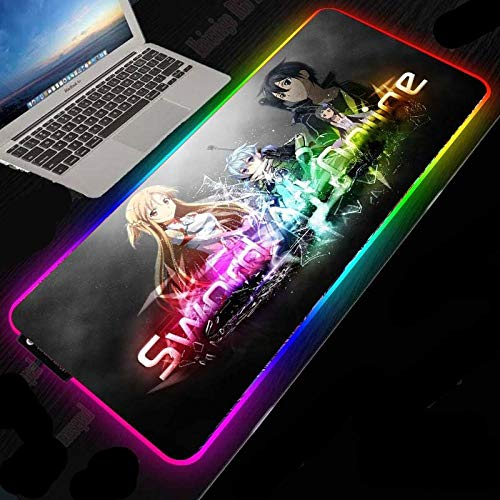 Sword Art Anime RGB Gaming Mouse Pad, RGB Mice mat with 14 Lighting Mode, Large Mouse Pad with No-Slip Rubber Base and Memory Function 500x1000mm