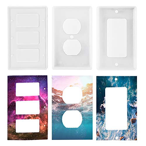 3 Pcs Light Switch Cover Resin Mold Switch Socket Panel Mold Epoxy Switch Plate Outlet Cover Silicone Mould for DIY Wall Plate Home Decor Polymer Clay Crafts Making