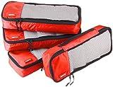 AmazonBasics Schmale Kleidertaschen, 4 Stück, Rot