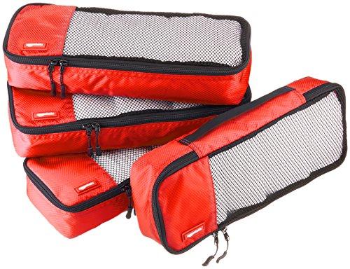 Amazon Basics - Bolsas de equipaje alargadas (4 unidades), Rojo