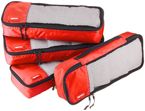AmazonBasics - Bolsas de equipaje alargadas (4 unidades), Rojo