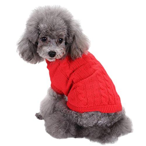 Boodtag Hunde Pullover Weich Warm Strickpullover Haustier Bekleidung Rollkragen Hundepulli Chihuahua Teddy Dog Gestrickt Weste Rot Rosa Blau Braun Gelb