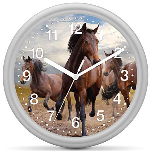 Eurotime Quarzwanduhr, 25 cm, Kunststoffgehäuse Silber, Kunststoffglas, klares 12-Zahlen Zifferblatt mit Pferdemotiv, geräuscharmes Uhrwerk, kein Ticken, Wanduhr für Kinderzimmer, 82206-07