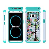 Galaxy S8 Plus Case, FOLICE Studded Rhinestone Crystal, Dual Layer Silicone Phone Case for Samsung Galaxy S8 Plus (Colorful Tree)