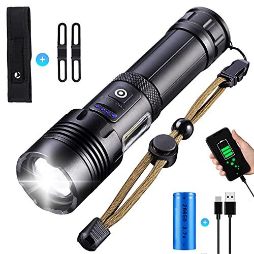 LED Taschenlampe mit COB Arbeitsleuchte, Super Helle 10000 Lumen Taschenlampe, USB Aufladbar Taktische Taschenlampe, Wasserdicht 7 Modi Zoombar Handlampe für Camping Wandern (26650 Akku)