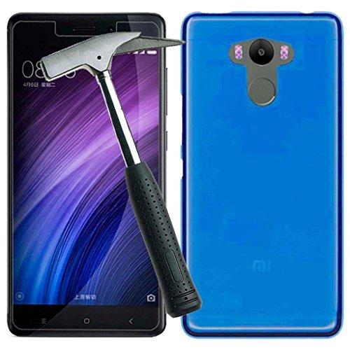 Todobarato24h Funda TPU Lisa Compatible con Xiaomi redmi 4/4 Pro / 4 Prime Azul + Protector DE Cristal Templado