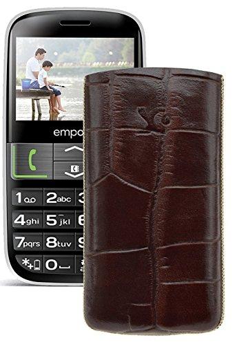 Original Suncase Tasche für / Emporia EUPHORIA V50 / Leder Etui Handytasche Ledertasche Schutzhülle Hülle Hülle - Lasche mit Rückzugfunktion* In Croco-Braun