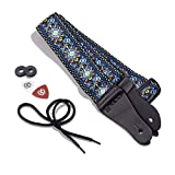 KLIQ Vintage Woven Guitar Strap for Acoustic and Electric Guitars + 2 Free Rubber Strap Locks, 2 Free Guitar Picks and 1 Free Lace | '60s Jacquard Weave Hootenanny Style | Hendrix Blue