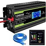 Novopal Power Inverter Pure Sine Wave-1000 Watt 12V DC to 230V/240V AC Converter-LCD