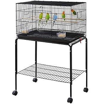 Yaheetech Cage Oiseau Cage d'elevage Cage pour Perruches Pinsons Cockatiels Conures Inséparables Canaris Perroquets avec Support Détachable Noir