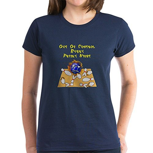 CafePress Friday Mad Flaming Bowling Ball Baumwolle T-Shirt Gr. M, navy