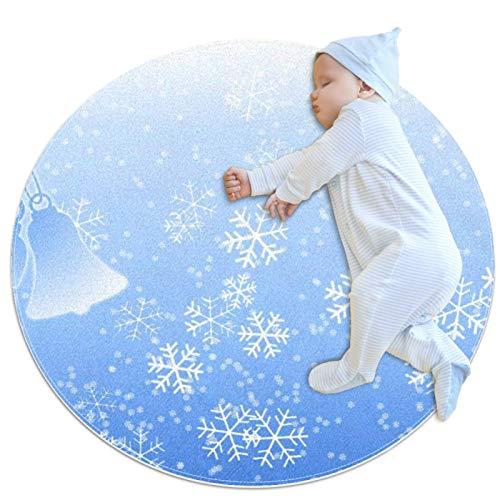 HOHOHAHA Runder Kinderteppich, rutschfest, waschbar, Motiv: Schneeflocken