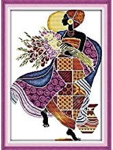 Happy Forever Cross Stitch Kits 11CT Stamped Patterns for Kids and Adults, Preprinted Embroidery kit for Beginner, R323 African Feeling (Purple 2, Size 16''x21'')