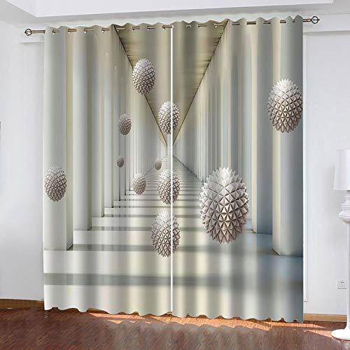 WLHRJ Cortina Opaca en Cocina el Salon dormitorios habitación Infantil 3D Impresión Digital Ojales Cortinas termica - 234x138 cm - Espacio de Pasillo de Esfera geométrica