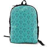 (34 Scale) Hippos Navy On Teal C19BS Adult Premium Travel Backpack, Water-Resistant College School Bookbag, Sport Daypack, Outdoor Rucksack, Laptop Bag for Men&Women