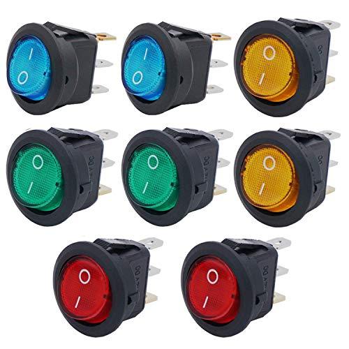 RUNCCI-YUN 8 pcs Interruptor Basculante 12v,Interruptor Redondo,Interruptor Basculante Led,3 Pines 20a 12v Dc Interruptor 12v Coche Para coche o barco con( 4 colores)