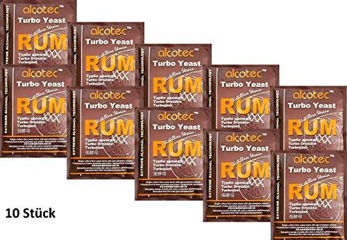 AlcoTec HUGBERT Turbohefe Rum + GA Vodka Alkohol Gärhefe Weinhefe Brennhefe gären, 10 Stück
