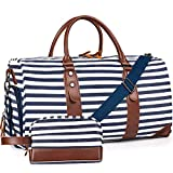 Oflamn 21' Weekender Bags Canvas Leather Duffle Bag Overnight Travel Carry On Tote Bag with Luggage Sleeve (Blue/White Striped)