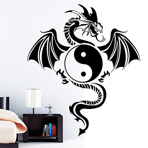 Wandtattoo-Loft Tribal Zeichen Yin Yang Drache - Wandtattoo / 49 Farben / 3 Größen/Wandaufkleber/Wandsticker/schwarz / 80 x 93 cm (B x H)