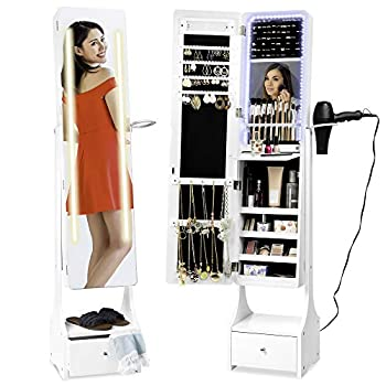 Best Choice Products Full Length Standing LED Mirror Jewelry & Makeup Storage Cabinet Armoire w/ Interior & Exterior Lights Lockable Magnet Door Touchscreen Velvet Lining Shelves Drawer - White