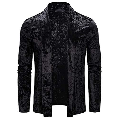 Herren Cardigan Jacke Langarm Casual Einfarbige Jacke Herren Freizeit Microfleece Cardigan Classic Loose Jacke Revers Jacke Tops XL