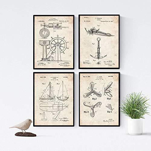 Nacnic Vintage - Pack de 4 Láminas con Patentes de Barcos. Set de Posters con inventos y Patentes Antiguas. Elije el Color Que Más te guste. Tamaño A3.