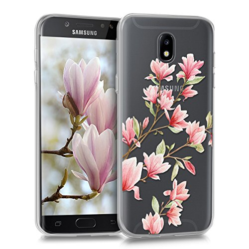 kwmobile Samsung Galaxy J5 (2017) DUOS Hülle - Handyhülle für Samsung Galaxy J5 (2017) DUOS - Handy Case in Magnolien Design Rosa Weiß Transparent