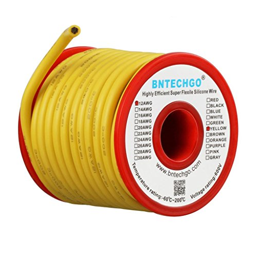 BNTECHGO 12 Gauge Silicone Wire Spool 25 ft Yellow Flexible 12 AWG Stranded Tinned Copper Wire