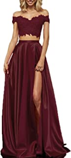 Long Lace Satin Prom Dress With Slit Off Dress Evening Gown For s