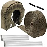 LEDAUT Turbo Blanket T3 Lava cover for Turbocharger and 2' x 50' Titanium Exhaust Heat Wrap Roll for Motorcycle Fiberglass Tape with Stainless Ties and Thermal Heat Shield Cover with Fastener Springs