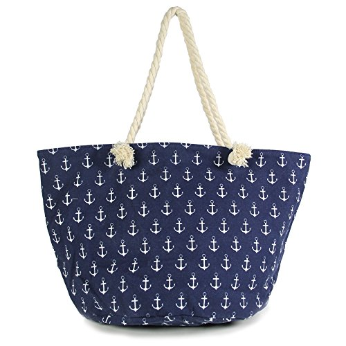 Me Plus Anchor Print Large Beach Tote Shopping Bag Zipper Closure Strong Handles with Inner Pocket (Anchor Pattern-Navy)