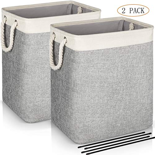 JOMARTO Laundry Basket with Handles 2 Pack, Collapsible Linen Laundry Hampers Built-in Lining with Detachable Brackets Well-Holding Laundry Storage Basket for Toys Clothes Organizer - Gray