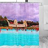 Spain Siam Park Tenerife cortina de ducha de viaje baño decoración conjunto con ganchos poliéster 72x72 pulgadas (YL-05444)