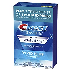 commercial Crest 3D White White Strip Vivid Plus Tooth Whitening Kit, 24 Strips (10 Vivid Plus… dissolving whitening strips