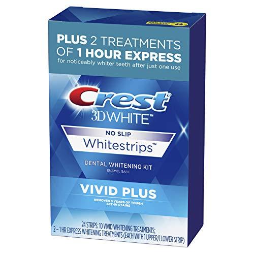Crest 3D Vivid Plus Teeth Whitening Kit, Individual Basic Flavorless Whitestrips, 24 Count