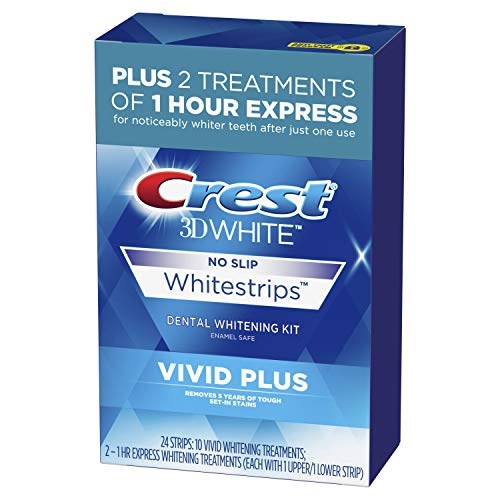 Crest 3D White Whitestrips Vivid Plus Teeth Whitening Kit, 24 Individual Strips (10 Vivid Plus Treatments + 2 1hr Express Treatments), Basic