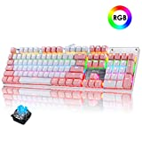 FELiCON RGB LED Backlit Wired Mechanical Gaming Keyboard,Metal Panle Dustproof Suspended Keycap Keyboard,for Laptop PC Game and Work (Pink)