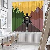 Hengshu - Cortinas extra anchas, 45 pulgadas de largo en montañas multicolor para niños 150 x 100 cm