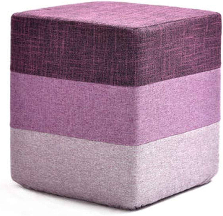 Living Room Change shoes Stool Sofa Stool Fashion Creative Low Stool Fabric Block Coffee Table Stool, Multi-color Optional (color   Purple, Size   28  28  34cm)