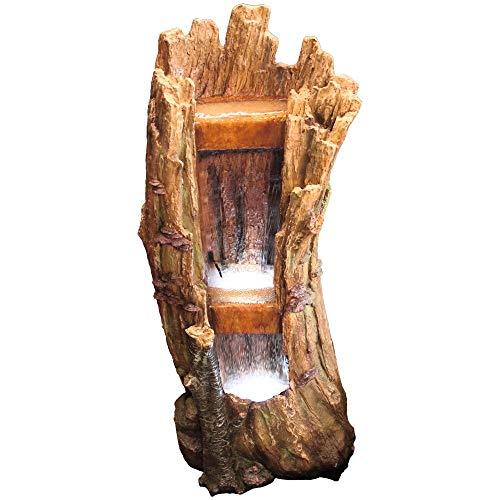 MACOShopde by MACO Möbel Gartenbrunnen Baumstamm XL - Dekobrunnen mit weißer LED Beleuchtung, ca. 99 x 42 x 36 cm, braun/Holzdesign