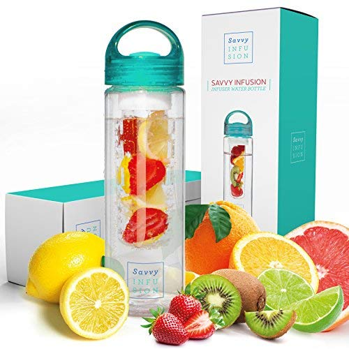 Savvy Infusion Water Bottles - 24 or 32 Ounce Fruit Infuser Bottle - Featuring Unique Leak Proof...