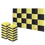 Arrowzoom 24 Piezas Panels Acustico Absorcion Sonido Piramide 25x25x5cm Espuma Acustica Aislamiento Acustico Estudio de Grabacion Casas Estudios Azulejos Incombustibles Insonorizados AZ1034 NEGRO & AMARILLO