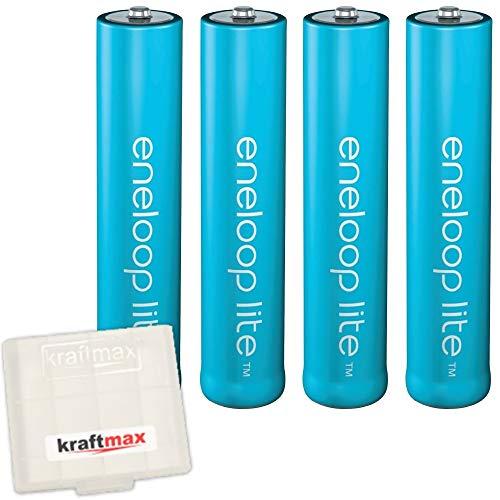 kraftmax 4er Pack Eneloop LITE AAA Akkus - speziell für schnurlose Telefone/DECT Telefon - 4X Micro Akku Batterien in hochwertiger Akkubox