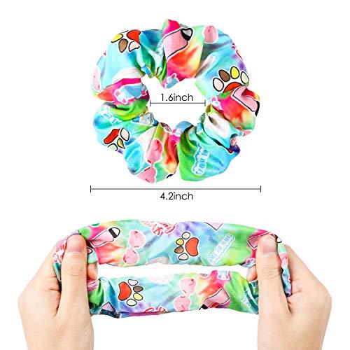 PANTIDE 6Pcs VSCO Hair Scrunchies VSCO Starter Stuff VSCO Designed Pattern Hair Scrunchies, Colorful Polyester Pongee Ponytail Holder, Elastic Hair Ties Ropes Hair Accessories for Women Girls 3