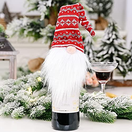FYLYHWY Bolsa De La Cubierta De La Botella De Vino De La Navidad Papá Noel De La Botella De Vino Bolsa De Regalo Cena De Navidad Cena De Navidad Decoración De Mesa Navidad Feliz Navidad (Color : B)