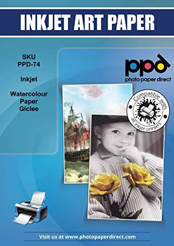 PPD A4 x 25 Blatt PREMIUM Inkjet 240 g/m2 Fine Art Aquarell Papier - Natur Weiss, Matt, Weich mit leichter Stuktur, Säurefrei und Archivierbar - DIN A4 x 25 Blatt-PPD074-25