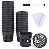 Ohuhu 3 Inch 30 Pack Net Pots Net Cups, Heavy Duty Plastic Net Pot with Wide Rim Design, Resilient Garden Slotted Mesh Cup with Pen & 30 PCS Plant Labels, Durable Bucket Baskets for Hydroponics